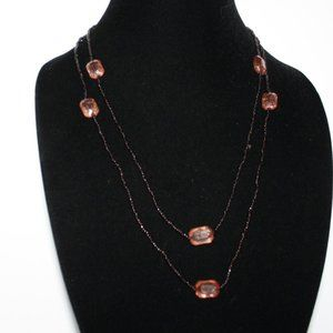 "48"" long dark brown and pink rose necklace"